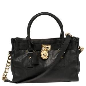 MICHAEL Michael Kors Black Leather Hamilton East West Tote