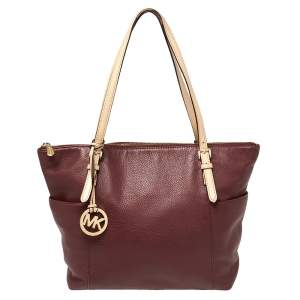MICHAEL Michael Kors Burgundy/Beige Leather Medium Jet Set Top Zip Tote