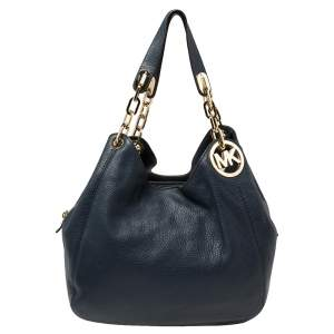 MICHAEL Michael Kors Navy Blue Leather Fulton Hobo