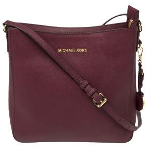 MICHAEL Michael Kors Burgundy Leather Jet Set Messenger Bag