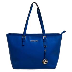 MICHAEL Michael Kors Blue Saffiano Leather Jet Set Travel Tote