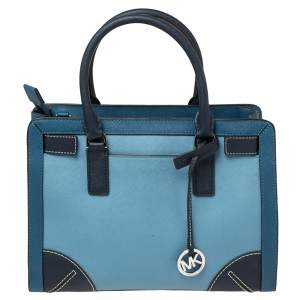 MICHAEL Michael Kors Two Tone Blue Saffiano Leather Dillon Tote