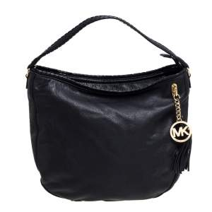 MICHAEL Michael Kors Black Leather Tassel Hobo