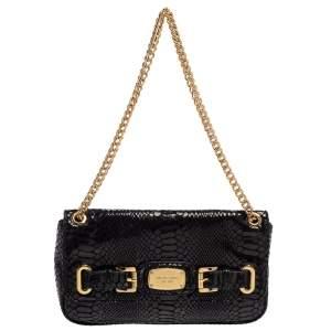 MICHAEL Michael Kors Black Python Effect Leather Hamilton Flap Shoulder Bag