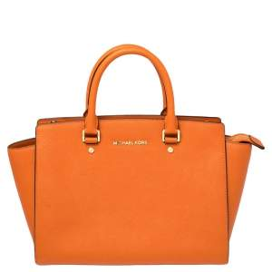 Michael Kors Orange Saffiano Leather Medium Selma Tote