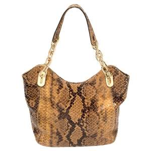 MICHAEL Michael Kors Brown Snakeskin Effect Leather Lilly Hobo