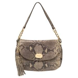 MICHAEL Michael Kors Grey Python Embossed Leather Crossbody Bag