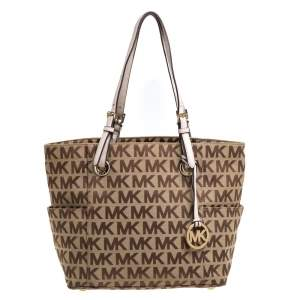 MICHAEL Michael Kors Beige Signature Canvas and Leather Jet Set Tote