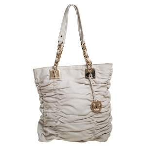 MICHAEL Michael Kors White Pleated Leather Chain Tote