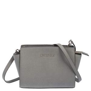 MICHAEL Michael Kors Grey Leather Medium Selma Crossbody Bag
