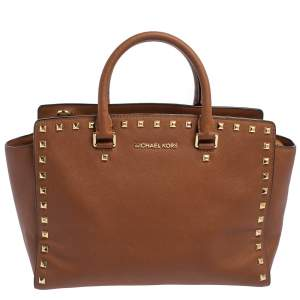 MICHAEL Michael Kors Brown Studded Leather Selma Tote