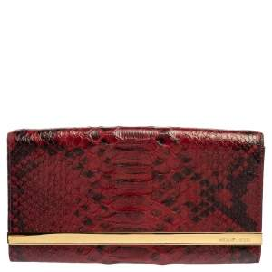 Michael Michael Kors Red Python Embossed Leather Lana Clutch