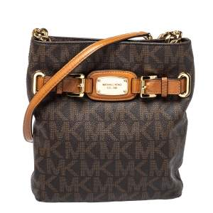 Michael Kors Brown/Tan Coated Canvas and Leather Hamilton Crossbody Bag
