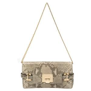 Michael Kors Beige Snake Embossed Leather Chain Clutch