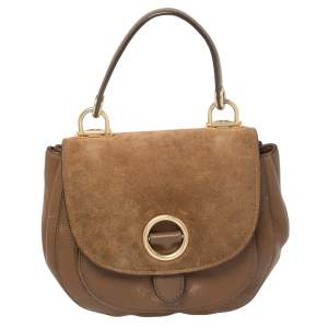 MICHAEL Michael Kors Brown Leather and Suede Medium Isadore Top Handle Bag