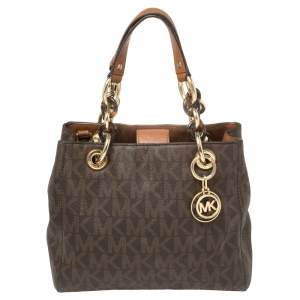 Michael Michael Kors Brown Signature Coated Canvas Small Cynthia Tote