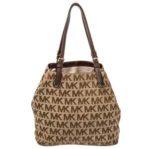 MICHAEL Michael Kors Beige/Brown Signature Canvas and Leather Jet Set Tote
