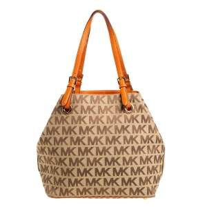 MICHAEL Michael Kors Beige/Orange Signature Canvas and Leather Tote