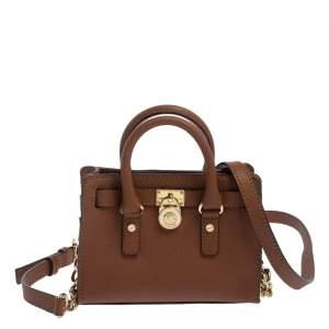 MICHAEL Michael Kors Brown Saffiano Leather Mini Hamilton Crossbody Bag