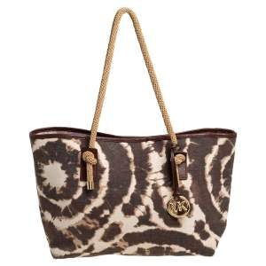 MICHAEL Michael Kors Brown/Beige Printed Canvas Rope Handle Tote