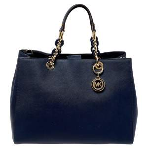 MICHAEL Michael Kors Navy Blue Leather Large Cynthia Tote