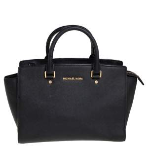 MICHAEL Michael Kors Black Saffiano Leather Large Selma Tote