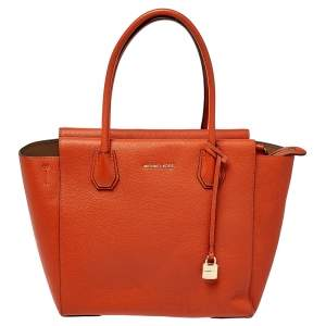 MICHAEL Michael Kors Orange Grained Leather Large Mercer Tote