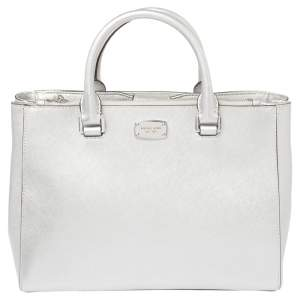 MICHAEL Michael Kors Metallic Silver Leather Medium Kellen Satchel