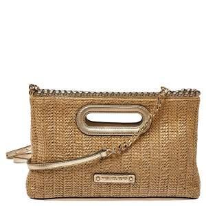 MICHAEL Michael Kors Beige/Gold Raffia and Leather Rosalie Clutch Bag