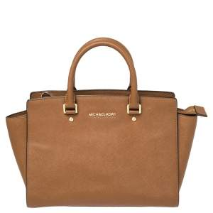 MICHAEL Michael Kors Brown Saffiano Leather Large Selma Tote