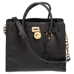 MICHAEL Michael Kors Black Leather Hamilton North South Tote