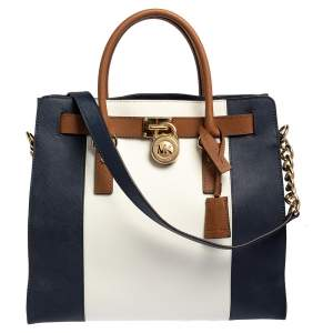 MICHAEL Michael Kors Blue/White Leather Large Hamilton North South Tote