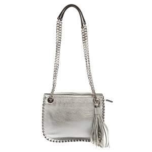 MICHAEL Michael Kors Silver Leather Chelsea Chain Shoulder Bag