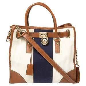 MICHAEL Michael Kors Multicolor Color Leather and Canvas Large Hamilton Tote