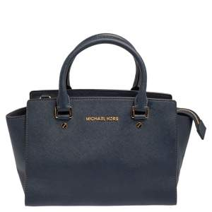 MICHAEL Michael Kors Navy Blue Saffiano Leather Medium Selma Tote