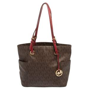 MICHAEL Michael Kors Brown/Red Signature Coated Canvas and Leather Jet Set Tote