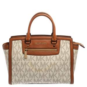 MICHAEL Michael Kors White/Brown Signature Coated Canvas and Leather Large Selma Tote