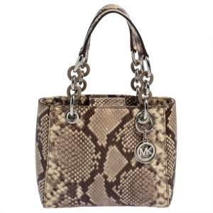 MICHAEL Michael Kors Beige Python Embossed Leather Mini Cynthia Tote