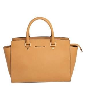MICHAEL Michael Kors Tan Saffiano Leather Large Selma Tote