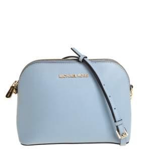 MICHAEL Michael Kors Powder Blue Saffiano Leather Medium Cindy Dome Crossbody Bag