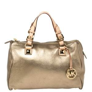 MICHAEL Michael Kors Metallic Gold Leather Large Grayson Satchel