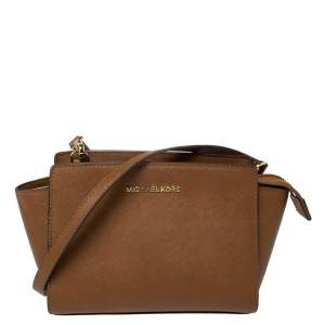 MICHAEL Micheal Kors Brown Saffiano Leather Small Selma Crossbody Bag