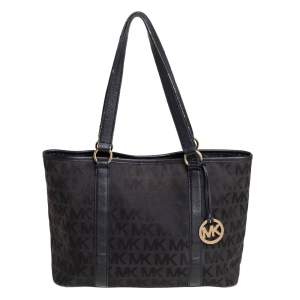 MICHAEL Michael Kors Black Signature Canvas and Leather Snap Tote