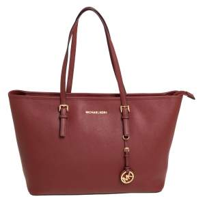 MICHAEL Michael Kors Dark Red Saffiano Leather Jet Set Travel Tote