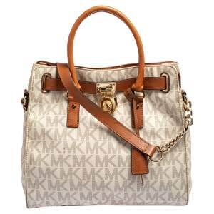 MICHAEL Michael Kors White Signature Coated Canvas and Leather Large Hamilton North South Tote