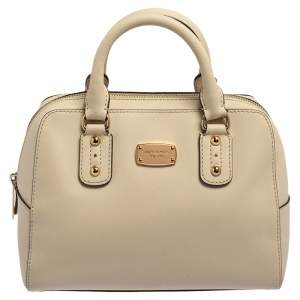 MICHAEL Michael Kors Off White Saffiano Leather Satchel
