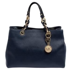 MICHAEL Michael Kors Navy Blue Saffiano Leather Medium Cynthia Tote