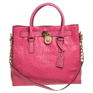 MICHAEL Michael Kors Pink Ostrich Embossed Leather Large Hamilton North South Tote