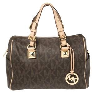 MICHAEL Michael Kors Brown/Beige Signature Coated Canvas and Leather Grayson Boston Bag