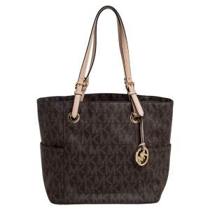 MICHAEL Michael Kors Brown Signature Coated Canvas and Leather Jet Set East West Tote